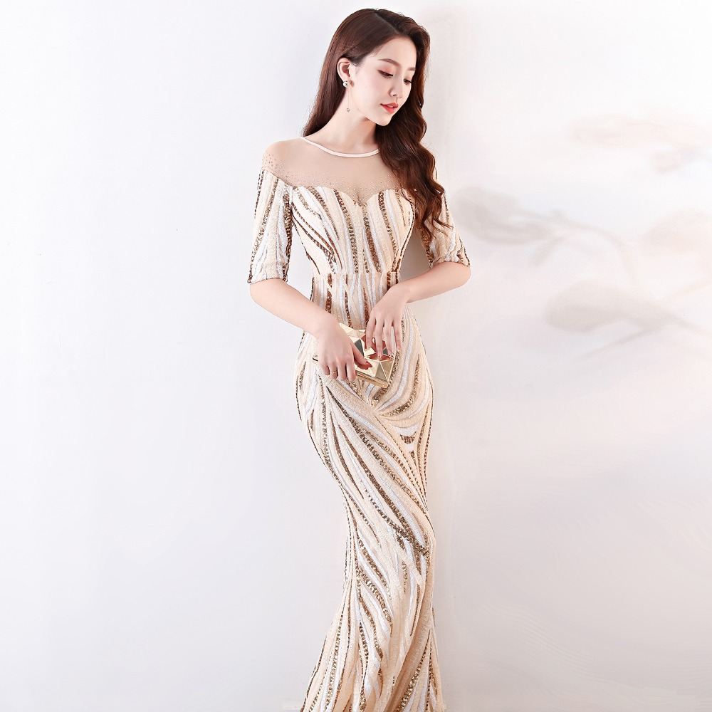 Elegant Crystal Beaded See Through Voile Shor Sleeve Mermaid Long Formal Dresses For Women 2018 Sexy Nightclub Wear Party Dress (14)