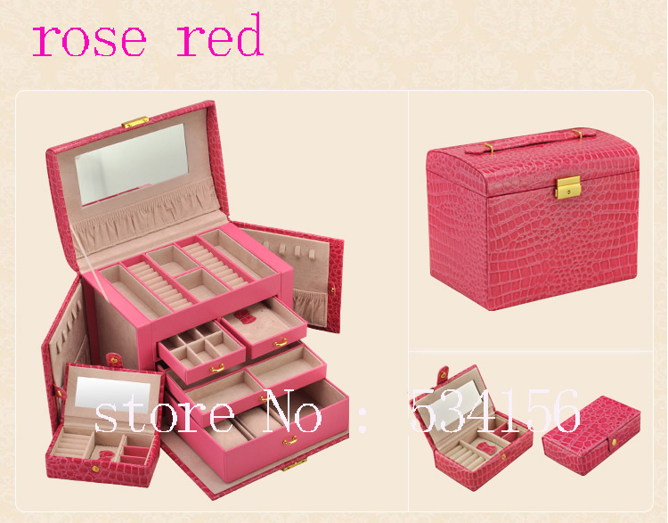 Free shipping Large luxury PU rose red gift boxes jewelry box,earrings necklace pendant jewelry display shelf packing gift box free shipping high grade empty rose red jewelry boxes ring pendant bracelet necklace packing box