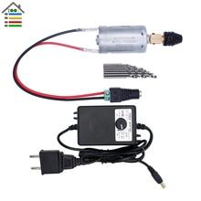 DIY Mini Hand Electric Drill Set DC 3 12V Motor Keyless Chuck 10pc Twist Bits Adjustable Speed Power Supply Adapter Woodworking