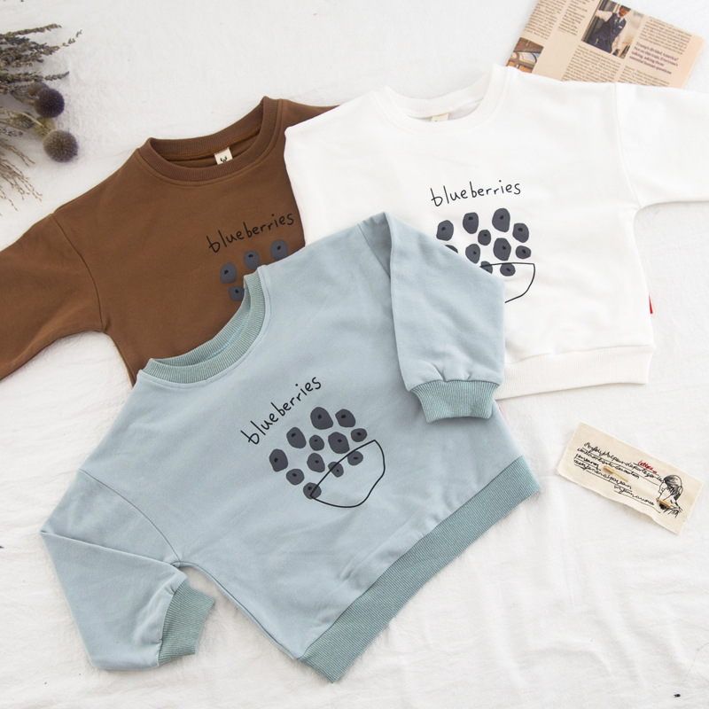 Boy Clothes Kids Clothing Girls Letter and Blue Berry Printed T Shirt Children Clothing Boys Shirts Girl Tees Tops for Kids