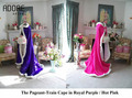 Royal roxo/rosa quente faux fur wraps nupcial cloaks capes casamento damas de honra para a noite das mulheres outwear com long train