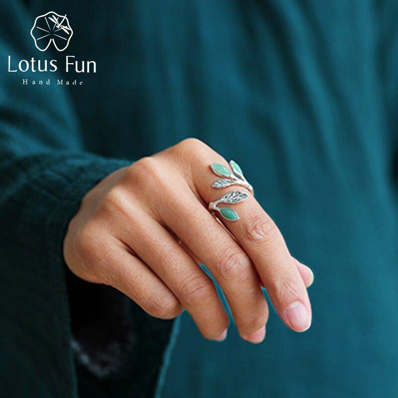 Lotus Fun réel 925 en argent Sterling pierre naturelle créative à la main Designer bijoux fins printemps dans l'air feuilles bagues féminines-in Anneaux from Bijoux et Accessoires    1