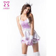 White Satin Purple Ruffle Chiffon Mini Dress and Shorts Cosplay Unicorn Costume Sexy Animal Halloween Costumes For Women Adults