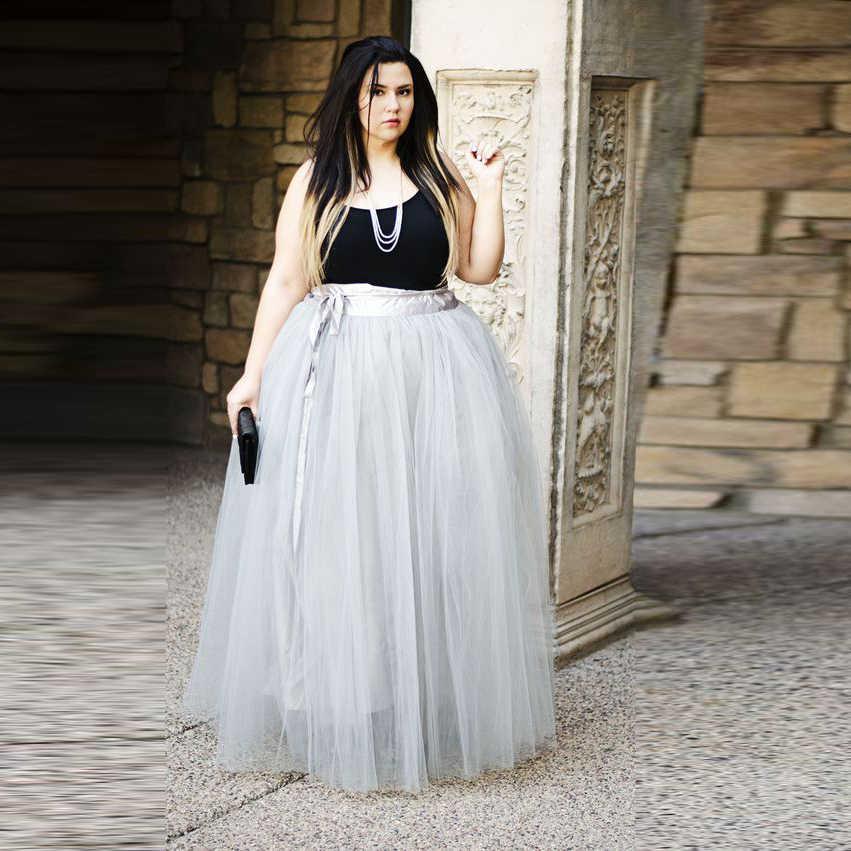 Plus Size Tulle Skirt Wide Band Waistline A Line Floor Length Maxi Skirt  Fashion Gray Tutu Skirts Women