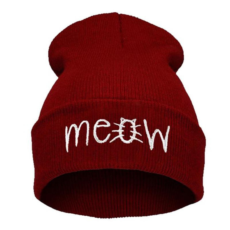 Winter Knitting MEOW Beanie Hat And Snapback Men And Women Hiphop Cap the new children s cubs hat qiu dong with cartoon animals knitting wool cap and pile