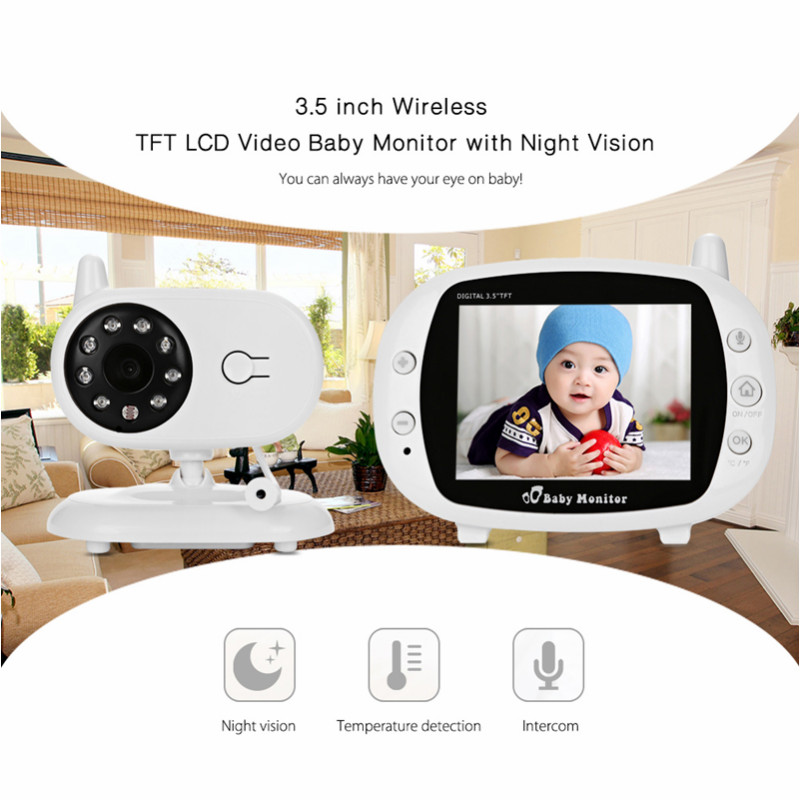 3.5 Inch Wireless TFT LCD Video Baby Monitor With Night Vision TFT Baby Monitor Baby Camera Digital Video Nanny Babysitter wireless 2 4 lcd color baby monitor high resolution lullabies kid nanny radio babysitter night vision remote camera newborn gift