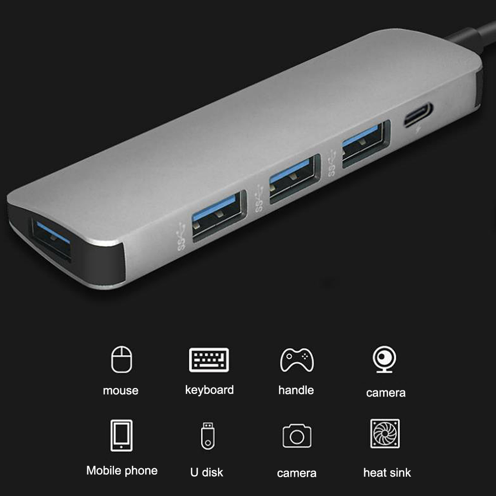 Image 3 - 5 in 1 USB Type C Hub Hdmi PD Power Delivery Port 4 USB 3.0 Ports USB C Hub Adapter for Mac book Pro Thunderbolt USB C HUB-in USB Hubs from Computer & Office