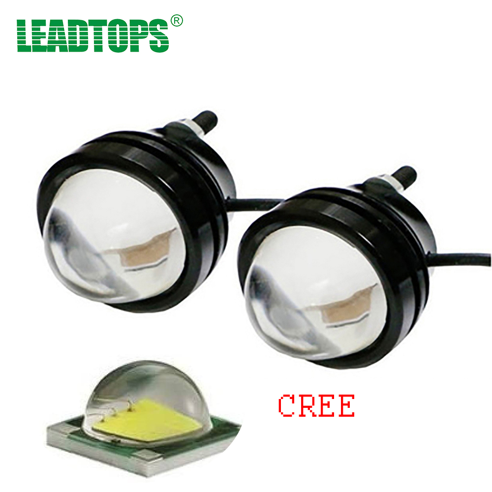 LEADTOPS Car Led Light Fog Lamp Foglight Daytime Running Lights Drl External Light Led Eagle Eye Aluminum Housing 12v E 7w led white light eagle eye car foglight backup daytime running lamp dc 12v