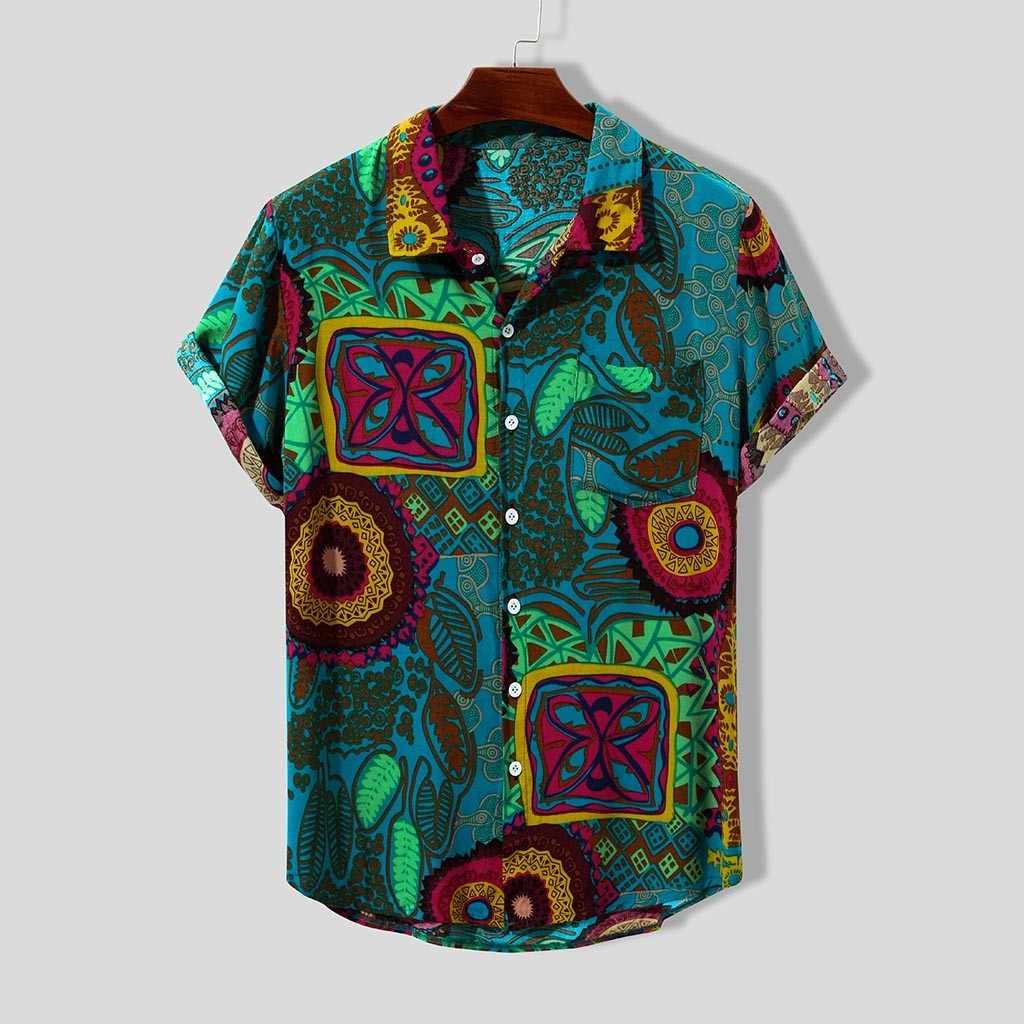ハワイシャツリネンシャツ男性 2019 夏のビーチのシャツブラウス男性エスニック半袖カジュアルヴィンテージブラウス camisas ストリート