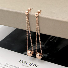 Unique Design long line Ball earrings Titanium Steel rose gold color Women fashion line chain bead Earrings, factory prices(China)