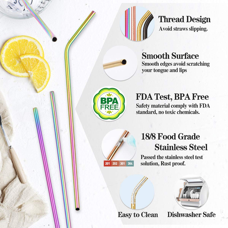 2/4/8Pcs Colorful Reusable Straws Made Of High Quality 304 Stainless Steel Metal 2