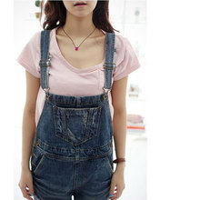 2016 New Arrival Women Fashion Clothes Baggy Denim Jeans Full Length Pinafore Dungaree Overall Jumpsuit