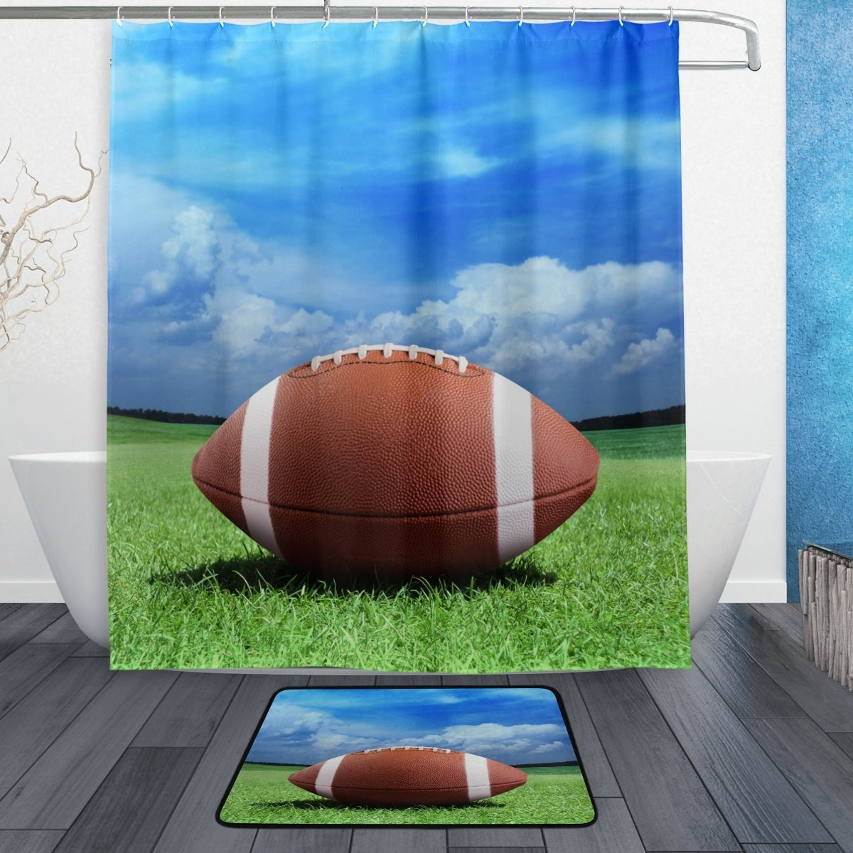 American Football Ball Sky Field Waterproof Polyester Fabric Shower ...