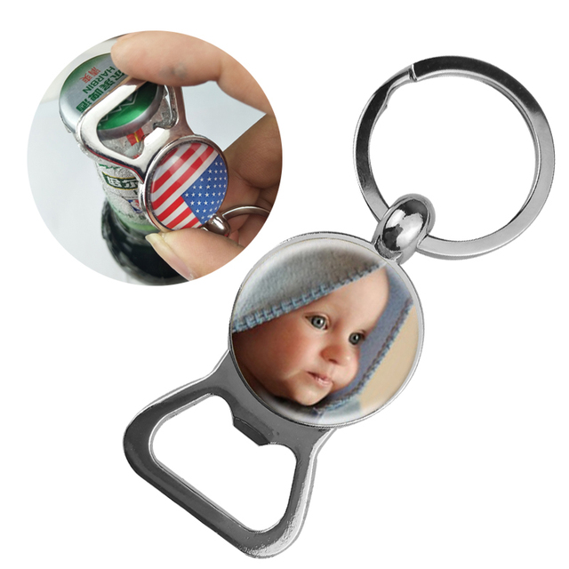 SUTEYI Personalized Photo Key Chain Bottle Opener Keychain Custom Photo of Your Baby Child Mom Dad Grandparent Loved Family Gift
