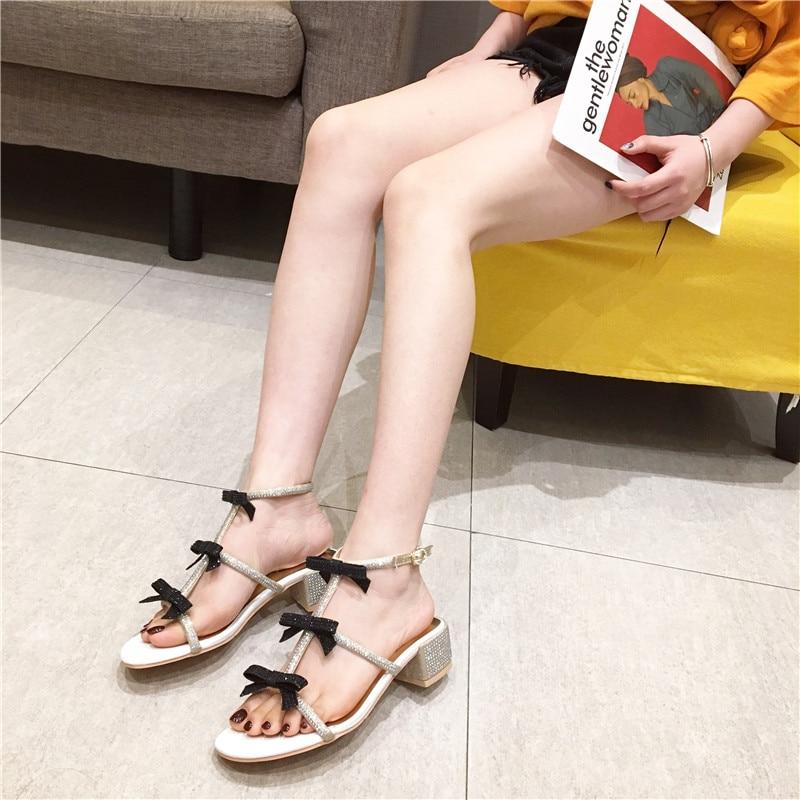 ed46ba5125515b HTB19SBFwv9TBuNjy1zbq6xpepXaZ New Women Summer Sandals Bling Bling Crystal  Bowknot Decor Sandals Runway Chunky Heels Pumps Gladiator