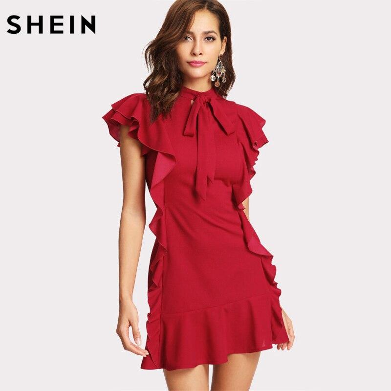 Shein Mujeres Partido volante adornados atado Masajeadores de cuello vestido Lazo Rojo Masajeadores de cuello Cap manga ruffle dobladillo cremallera volver vestido tubo