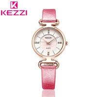 K-1464 KEZZI Brand Luxury Fashion Casual Quartz Watches Leather Sport Lady Women Wristwatches Relogio Feminino Clock Gift KZ121