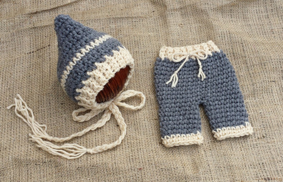 ,cute crochet baby blue elves hat matching pants sets newborn photography props 100% cotton - hats store