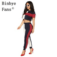 Binbye Fans 2018 Summer Outfits For Woman Fashion Block Two Piece Casual Tracksuit Sexy 2 Piece