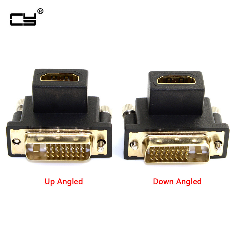90 Degree Up & Down Angled DVI Male To HDMI Female Adapter For Computer & HDTV & Graphics Card