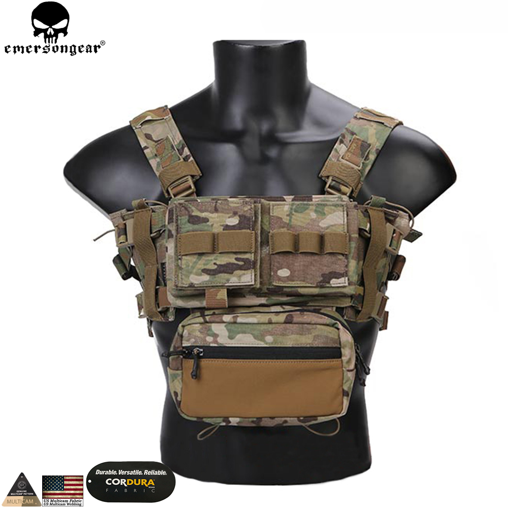 EMERSONGEAR Tactical Chest Rig Micro Fight Chissis MK3 Chest Rig Airsoft Hunting Combat Vest with 5.56 Mag Pouch Multicam
