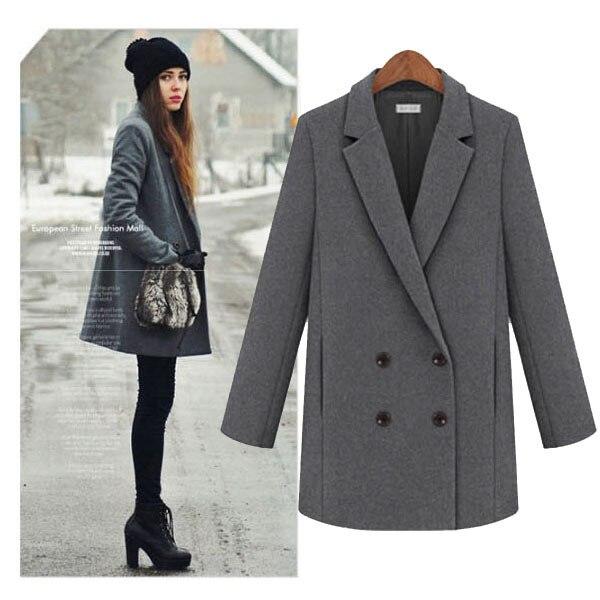Clásico abrigo de lana de invierno para mujeres con turn down collor, negro / gris / negro / naranja / verde / marrón / amarillo colores disponibles