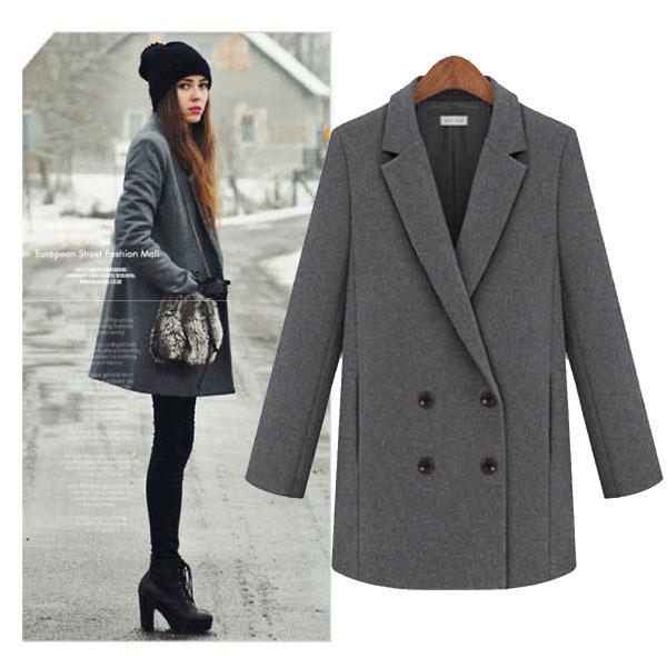 Classic winter woolen coat for women with turn-down collor,black/grey/brown/orange/green/maroon/yellow colors available