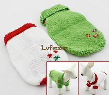 Pet Products Dog Supplies Sweaters acrylic Green White Puppy Embroidered Floral Handmade Sweater clothes