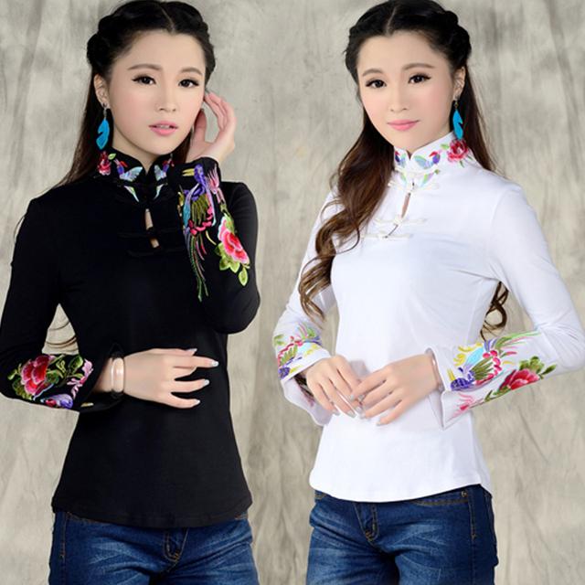 2016 novo chegada Estilo Chinês Camisa Primavera Camisa de Manga Longa blusa top Suporte étnico Preto Branco Colarinho bordado 585 H 25