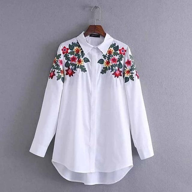 Wiosna Kobiet Mody Krótkie Zielone Liście Hafty Kwiatowe Koszula Kobiet Z Długim Rękawem Loose Casual Shirt Bluzka Damska Blusas Topy