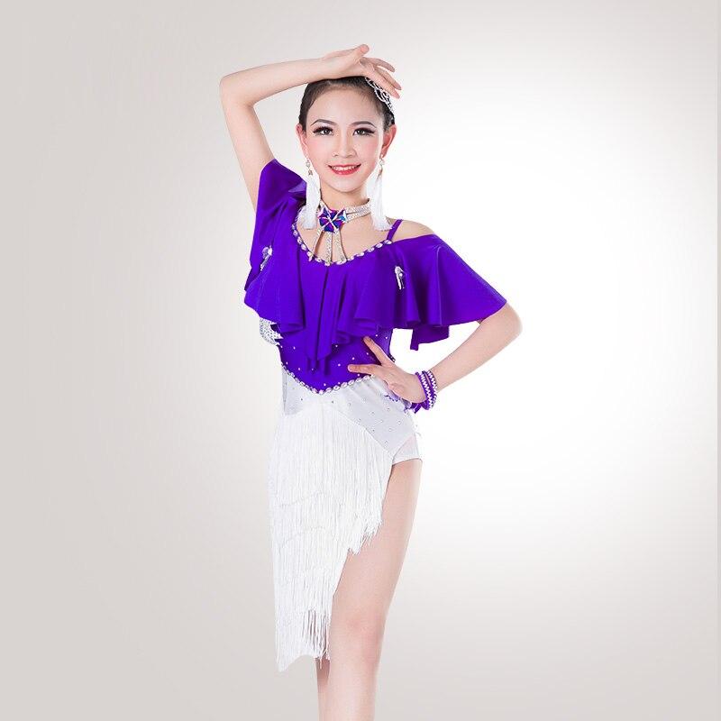 Glamour Latin Dance Dress For Girls Woman Competitive Wear Flamenco Children Tango Ballroom Kid Dresses DNS1003