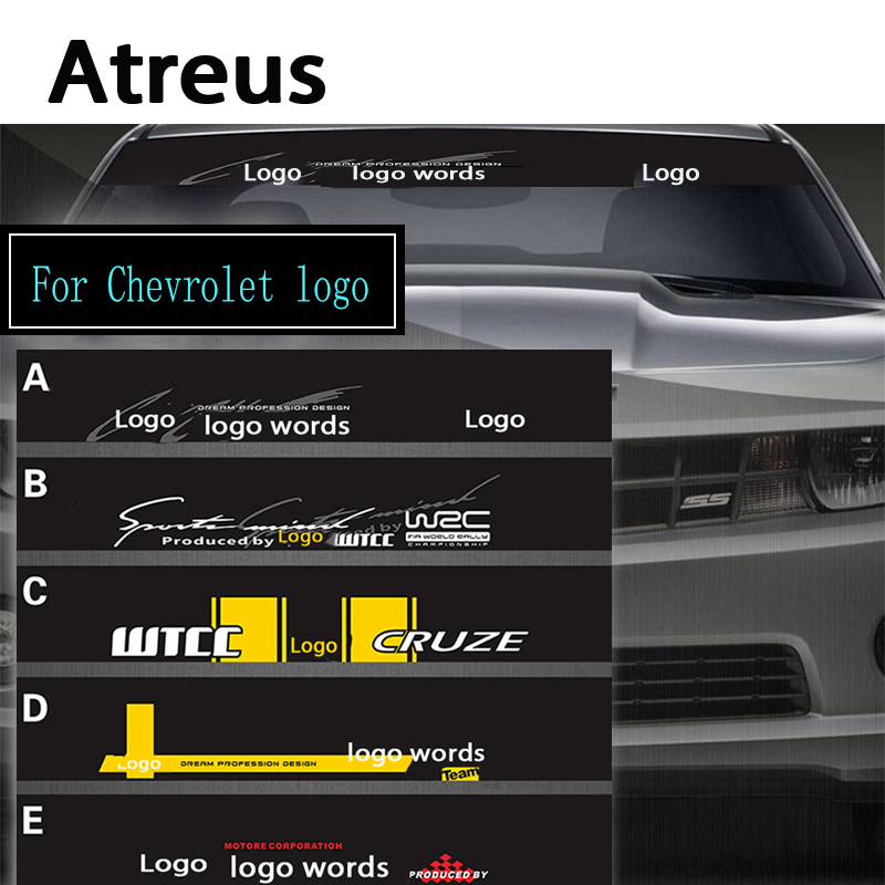 Atreus 1pc Car Logo Front Window Windshield Decal Reflective Stickers For Chevrolet Cruze Aveo Captiva Lacetti TRAX  Accessories reflective front mitsubishi shelf reflective car stickers ling yue v3 lancer car stickers