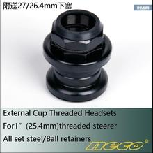 Neco External Cup Threaded Headsets 30-30MM For 1'' 25.4mm Steerer Steel Ball Retainers Fixed Gear Road Folding Bike Headset запчасть neco 773kw 1 1 8