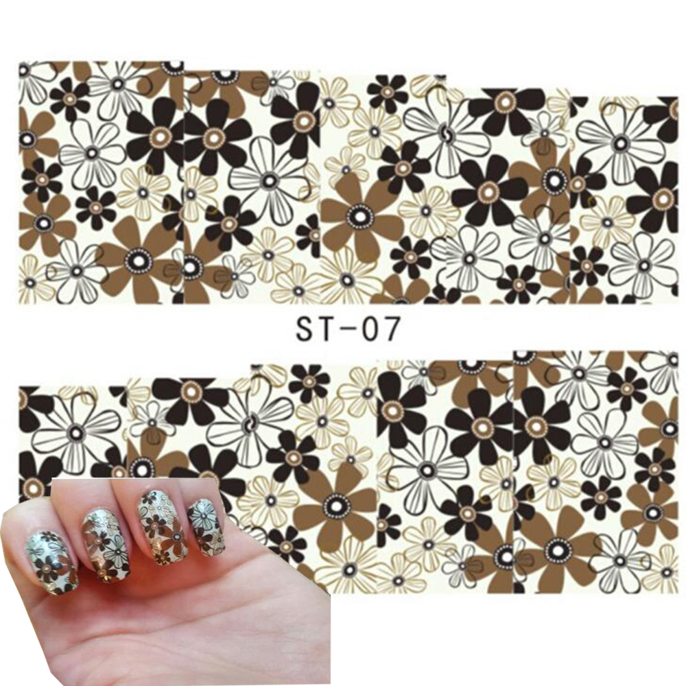 1sheet Elegant Flower Designs Watermarks Tips Beauty Water Transfer Nail Art Stickers DIY Salon Decoration Manicure Decal SAST07 yesurprise 3d women beauty 1pcs black lace glitters nail art tips manicure stickers decal tattoos diy decoration gift h006