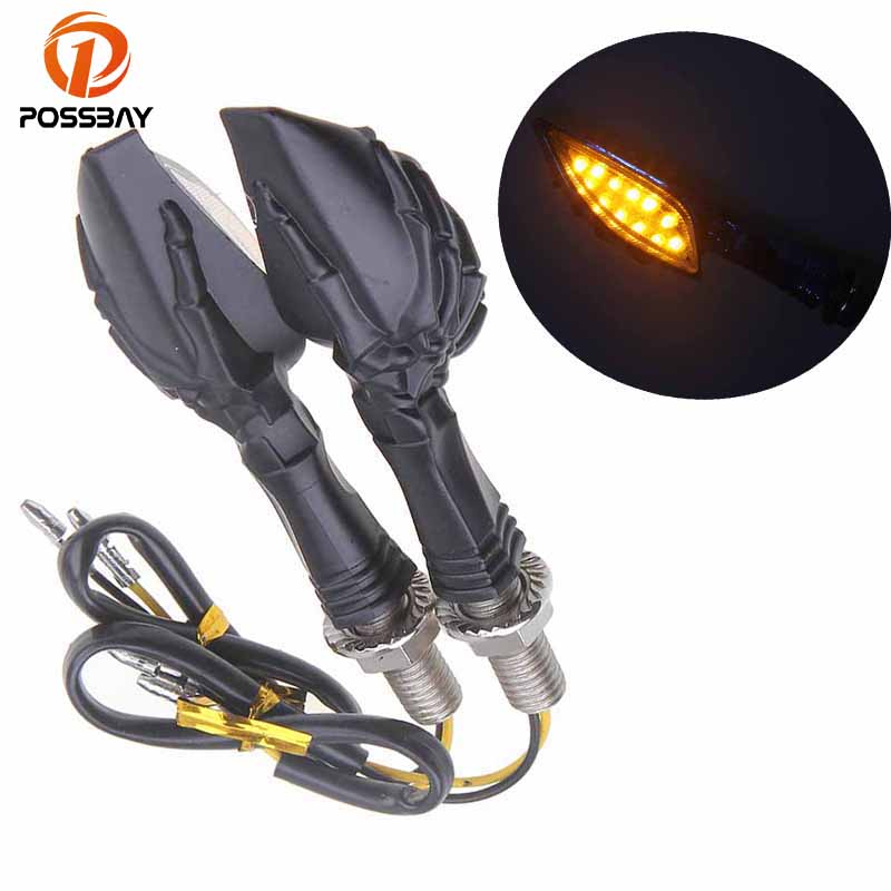 POSSBAY Cool Black Motorcycle LED Turn Signal Light Universal Indicators Lights Flasher Blinker For Honda Suzuki Yamaha Harley