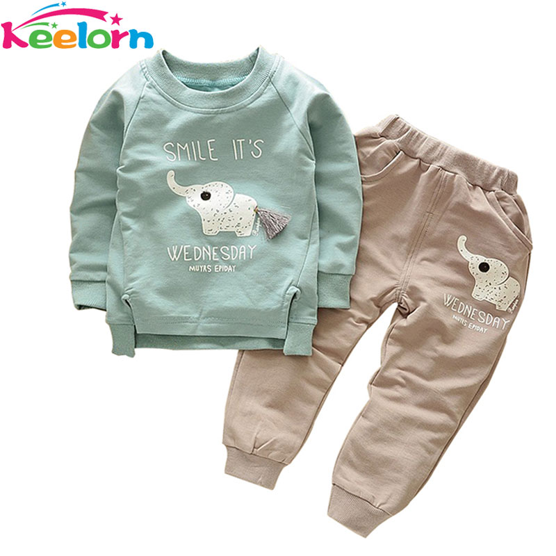 Keelorn Baby Boy Clothing Set 2017 New Autumn Fashion Style Long Sleeve Elephant Print T-Shirt+Pant 2pcs Kids Clothes new hot sale 2016 korean style boy autumn and spring baby boy short sleeve t shirt children fashion tees t shirt ages