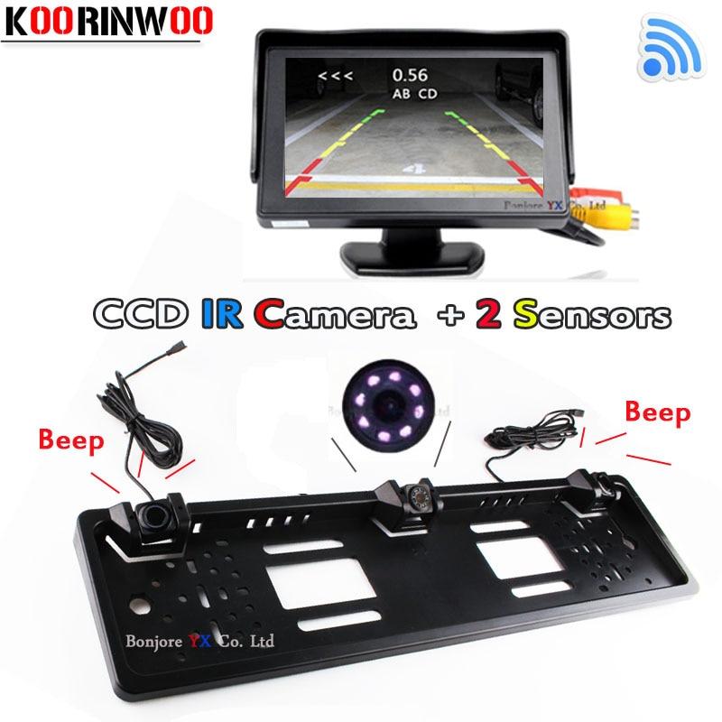 Koorinwoo Wireless Monitor Mirror TFT LCD Parktronic Car License Plate Frame Rear View Camera Car parking