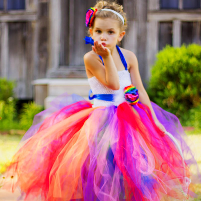 купить 2018 New Rainbow Flower Girl Tutu Dress Pageant Dresses For Little Girls Vestidos De Festa Infantis 2T-12Year по цене 2109.96 рублей