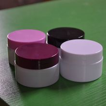 15g tarro de crema de plástico de doble capa con blanco/púrpura/negro/rosa tapa, frasco de plástico, cosmético tarro de crema/crema de ojos de embalaje