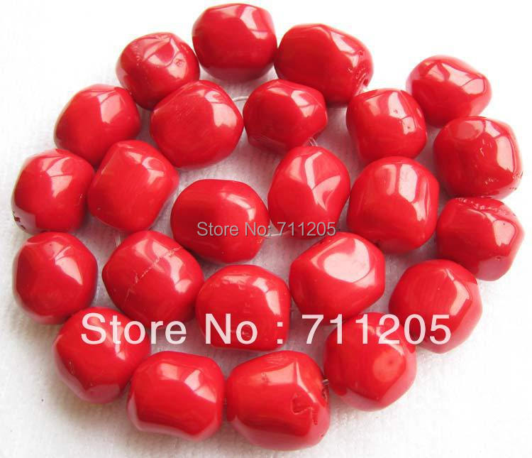 Free Shipping 15 18mm Red Coral Freeform Loose beads 15 Min Order is 10 we provide