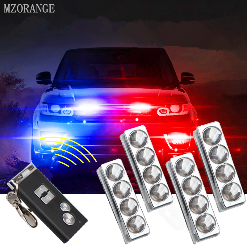 цена на MZORANGE 4 in 1 16 led Car grill styling flash light warning lamp DRL strobe light Emergency fog lamp Police Light driving light