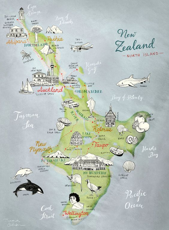 Travel Map New Zealand.Us 3 96 New Zealand Nz North Island Map Travel Classic Wall Sticker Canvas Paintings Decorative Vintage Poster Home Bar Decor Gift In Wall Stickers
