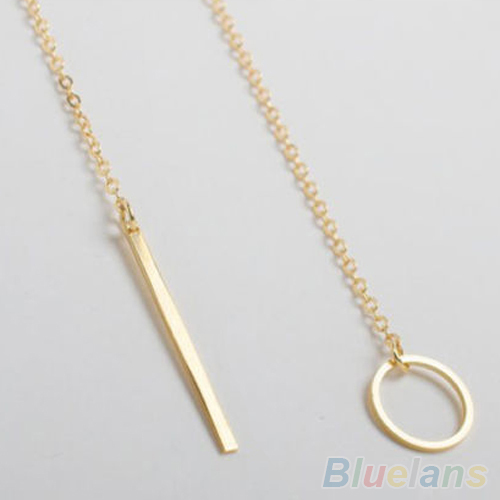 Bluelans Hot Sale Necklaces Women Simple Golden Color Alloy Y Shaped Choker Style Necklaces Long Pendants Jewelry Accessories 2