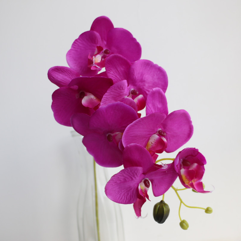 5pcs 78cm (7 머리 / 조각) Phalaenopsis 나비 나방 난초 결혼식 센터 피스를위한 타이 난초 장식적인 인공 꽃