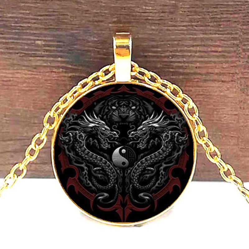 Yin Yang Mặt Dây Chuyền Rồng Trung Quốc Tám Sơ Đồ Vòng Cổ Chiêm Tinh Học Hoàng Đạo Đồ Trang Sức Tai Mặt Dây Chuyền cho Anh Ta Glass Cabochon Choker