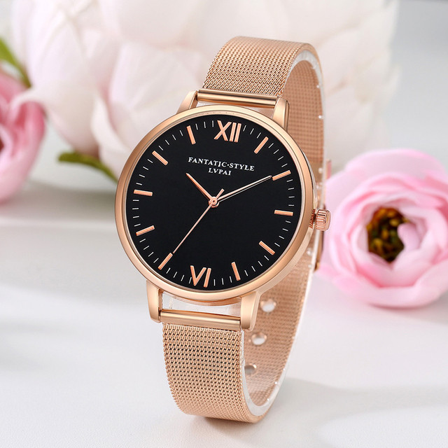 LVPAI Watches Women Stainless Steel Bracelet Analog Quartz Watch 2018 Luxury Bra