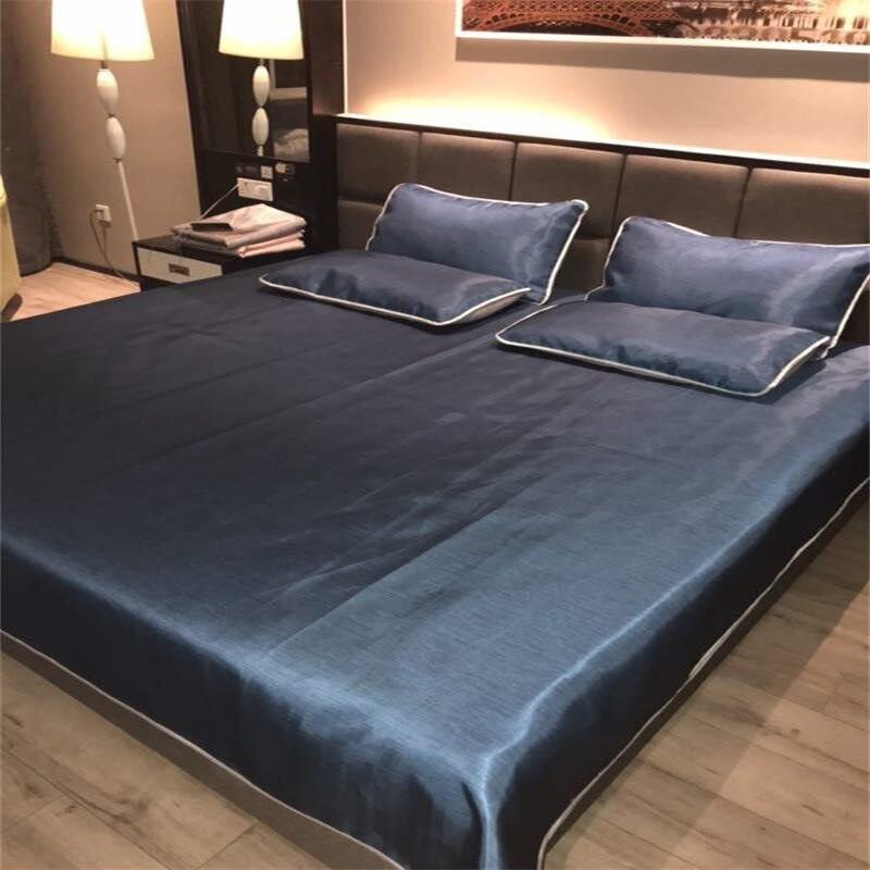 3in1 luxe glace soie feuilles été cool mat + taie d'oreiller lavable été literie ensemble grande taille draps