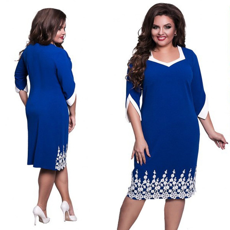 New 5XL 6XL Large Size 2018 Spring Summer Dress Big Size Blue Red Elegance Lace Dress Straight Dresses Plus Size Women Clothing