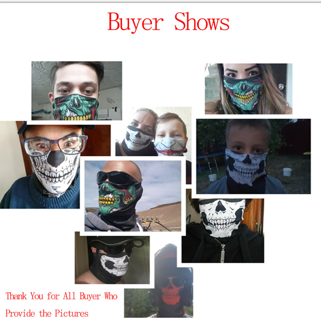 Motorcycle Face Mask Face Shield Skull Ghost Face Windproof Balaclava Outdoor Bike Head Face Sun Mask Shield 5