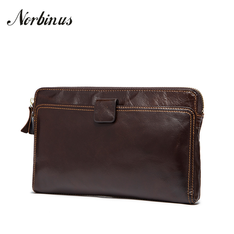 Norbinus Men Wallet Genuine Leather Clutch Bag Zipper Coin Pocket Purse Long Wallet Credit Card Holder Male Phone Pouch Hand Bag rosediary cute owls pu leather waterproof zipper coin purse women clutch lady wallet phone pocket pouch bag keys cosmetic holder
